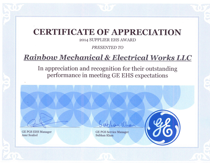 GE HSE Appreciation Certificate